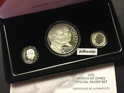 3 Coin Set 2015 W March Of Dimes Reverse Proof Dime Pf Silver Dollar Fdr P Dm5