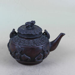 Chinese Red Copper Toad Copper Coins Pattern Teapot Da Qing W Mark Ht072