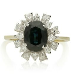 Vintage 18ct Gold Sapphire And Diamond Cluster Ring - 1983