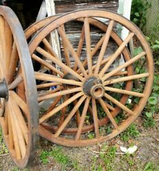 Lot Of 3 Vintage Antique Wood Horse Drawn Buggy Wheels 45 In. Excellent Shape