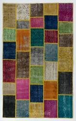 Colorful Handmade Patchwork Rug Made From Over-dyed Vintage Carpets