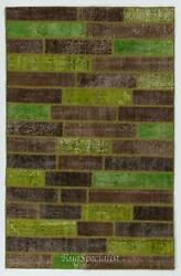 Brown And Green Color Handmade Patchwork Rug Made From Over-dyed Vintage Carpets