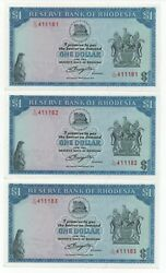 Rhodesia 3 X 1 Dollar August 1979 Consecutive Numbers Pick 30 C Unc+-