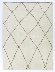 Boho Chic Moroccan Rug Made Of Natural Undyed Wool