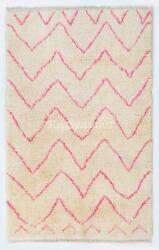 Contemporary Moroccan Beni Ourain Wool Rug In Pink And Cream Colors