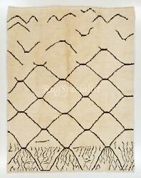 Contemporary Moroccan Berber Rug, 100 Natural Undyed Wool. Custom Options
