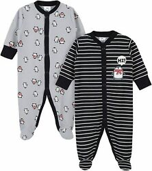 Gerber Baby Boys 2-pack Thermal Sleep And039n Play Penguin Stripe Size 0-3 Months
