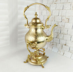 Antique Brass Rare Teapot 1.5 L On A Stand With Burner Collectible Tea Set Gifts