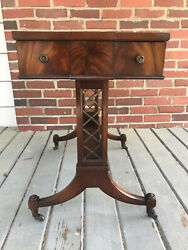 Weiman Leather Top Wood Side End Table 1-drawer Wheels Antique Heirloom 81554163