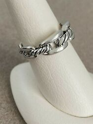 David Yurman Wellesley Collection 8mm Sterling Silver Chain Ring Sz7 Retail 375