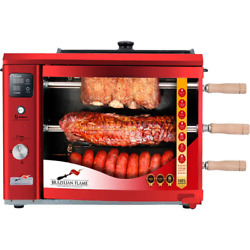 Portable Propane Gas Rotisserie Grill In Red