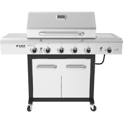 5-burner Portable Propane Gas Grill In Stainless Steel And Black With Ceramic Se