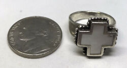 Size 7 6.6g 925 Greek Cross Sterling Silver Marked Ring Mother Pearl Gemstone