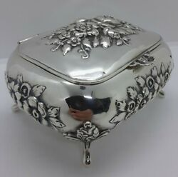 Antique Austrian Sterling Silver Box With Floral Repousse