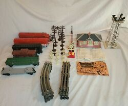 Vintage 1950s Lionel Train Set W/ Cars Tracks Signs And Building No Power Source