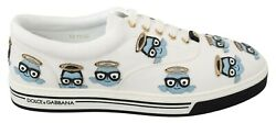 Dolce And Gabbana Shoes Sneakers White Leather Denim Angel Print S. Eu42/us9