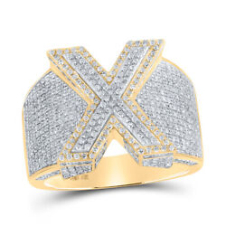 10kt Two-tone Gold Mens Round Diamond X Initial Letter Ring 1-3/8 Cttw