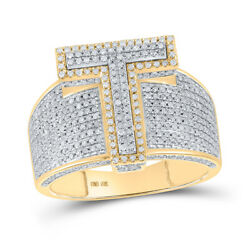 10kt Two-tone Gold Mens Round Diamond T Initial Letter Ring 1-1/5 Cttw