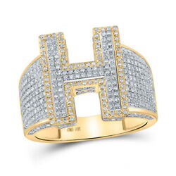 10kt Two-tone Gold Mens Round Diamond H Initial Letter Ring 1-1/5 Cttw