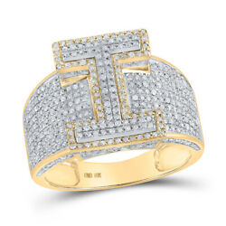 10kt Two-tone Gold Mens Round Diamond I Initial Letter Ring 1-1/5 Cttw