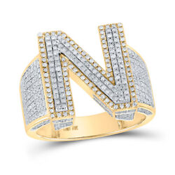 10kt Two-tone Gold Mens Round Diamond N Initial Letter Ring 1-1/5 Cttw
