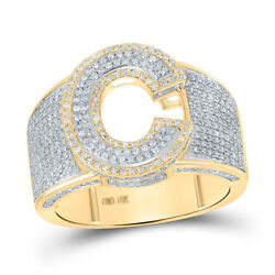 10kt Two-tone Gold Mens Round Diamond C Initial Letter Ring 1-1/5 Cttw