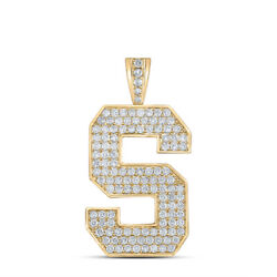 10kt Yellow Gold Mens Round Diamond S Initial Letter Charm Pendant 2 Cttw