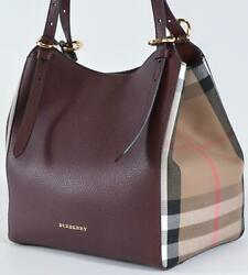 New Burberry Mahogany CANTERBURY Derby Leather House Check Small Satchel Purse $823.50