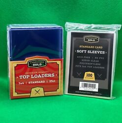 Cardboard Gold 3x4 Top Loaders And Soft Sleeves Cbg 25 50 100 200 500 1000