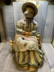 Vintage 2002 Fitz And Floyd Somerset Mother Rabbit Ceramic Cookie Jar With Box