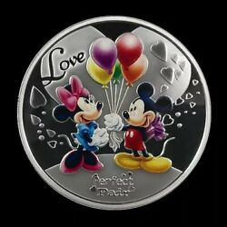 2016 China 40mm Romantic Mickey Disney Silvered Copper Medal Mint