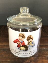 Vintage Large Hersheys Chocolate Glass Jar/ Canister Counter Store With Lid