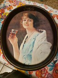 Vintage 1973 Coca Cola Oval Tin Serving Tray – Retro 1923 Flapper Girl Pictured