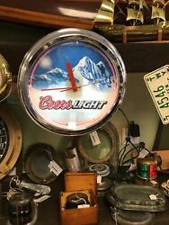 Coors Light Rocky Mountains ,crome Lighted , Bar Vintage Clock. Good Working
