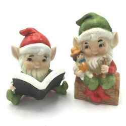 Vtg 1980and039s Homco Set Of 2 Christmas Pixie Elves Ceramic Holiday Decorations