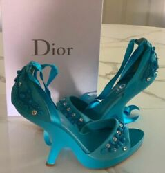 John Galliano For Dior Sandals - Blue Leather Sandal W/sculptural Heel 40 Us 10