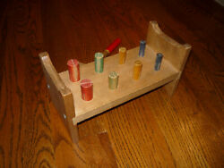 Child's Wooden Cobblers Pounding Bench And Hammer Circa 1939 Vtg