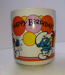 Vintage Smurfs 1981 Happy Birthday Coffee Mug Cup Wallace And Berrie 8 Oz