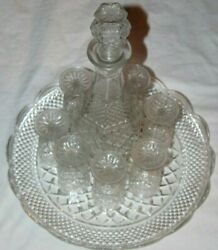 Vtgcut Glass 10-pc Wine Crystal Clear Champagne Liquor Decanter Round Tray Set