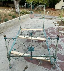 Antique Star Floral Bedframe Bed Twin Shabby Chic Cast Wrought Iron Headboard
