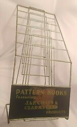 Antique 1920s J And P Coats Clarks Pattern Books General Store Metal Display Rack