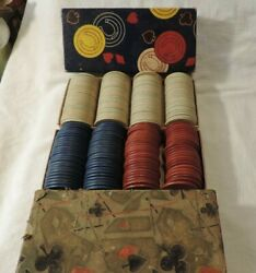 Vintage Paper Wafer Poker Chips In Two Original Boxes From Estate