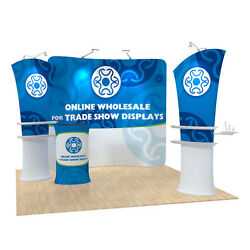 10ft Curved Pop Up Heat Transfer Fabric Tension Display Backwall With Graphic