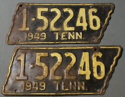 Tennessee 1949 License Plate Set Of 2 Rare Pair Tn Tag State Shaped Classic Car