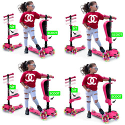 3-wheel Toddler Child Ride On Led Wheel Scooter In Pink 4-pack