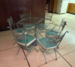 Woodard Andalusian Wrought Iron Patio Dining Set Round Table 6 Chairs