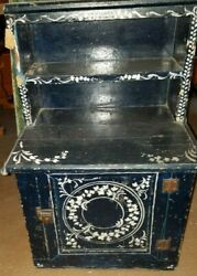Antique Wooden Hand Painted Child's Step Back Cupboard