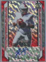 2021 Leaf Metal Draft Marbles Red Ba-jf1 Justin Fields Bears Rc Auto 4/5