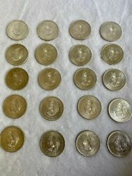20 Coin Roll 1947 Silver Mexico 5 Peso Chief Cuauhtemoc Uncirculated Coins