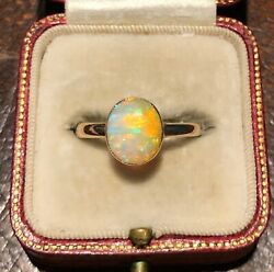 Antique Edwardian 1.65 Ct Natural Yellow Fire Opal Cabochon Hallmarked Gold Ring